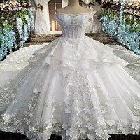 LS00171wedding sukienka koronka frezowanie kwiaty vestido de noiva krótkie rękawy Aplikacje organza Boat Neck kryształ Sweetheart