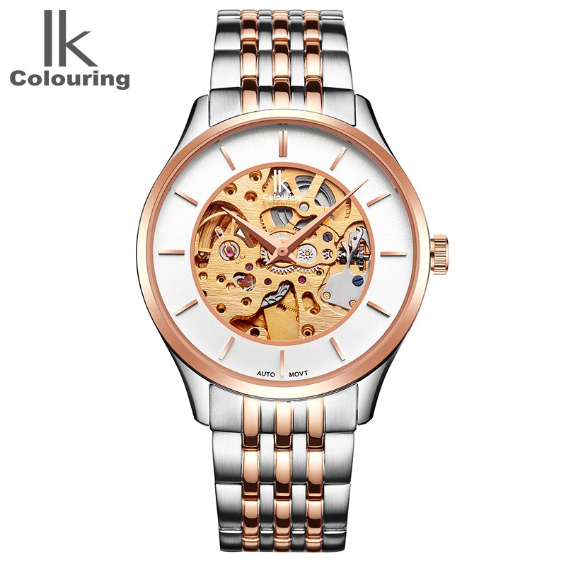 2017 Retro Original Box Luxury IK Coloring Men's Sapphire See Through Auto Mechanical Watches WR Wristwatch Gift Free Ship coloring of trees
