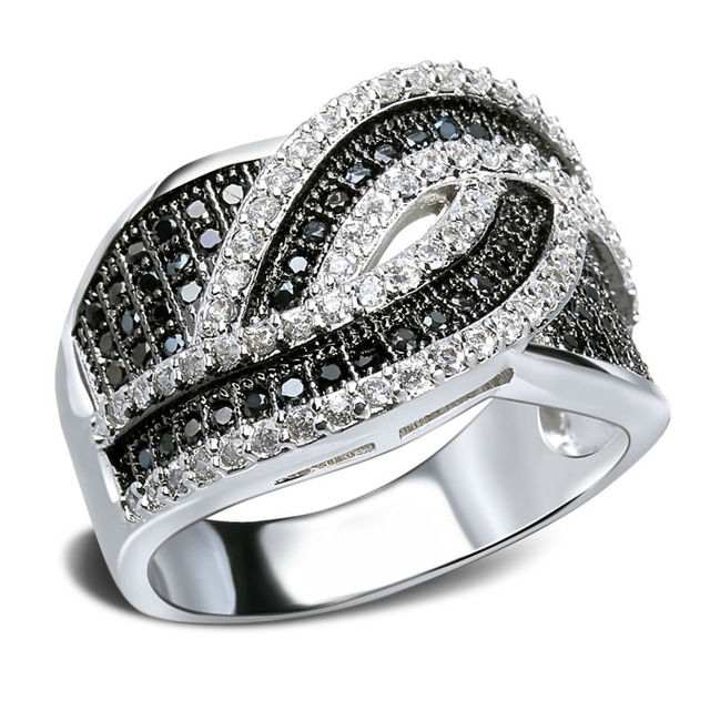 DC1989 Top Selling Woven Design Luxury Women Rings Synthetic Cubic Zircon and Hand Made Setting 2 Tone Plating Lead Free SJ10795