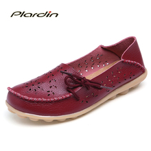 Plus Size 2016 Ballet Summer Cut Out Women Genuine Leather Shoes Woman  Flat Flexible Round Toe Nurse Casual Fashion Loafer