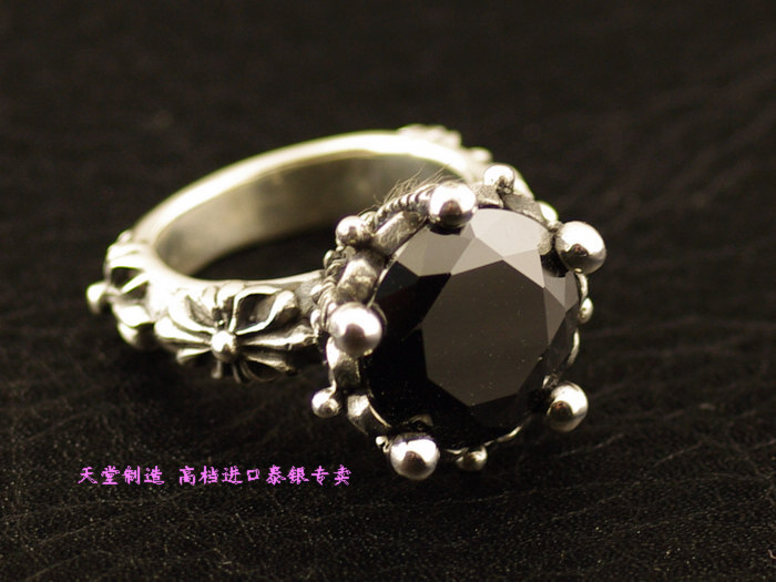 925 pure silver thai silver black Zircon ring