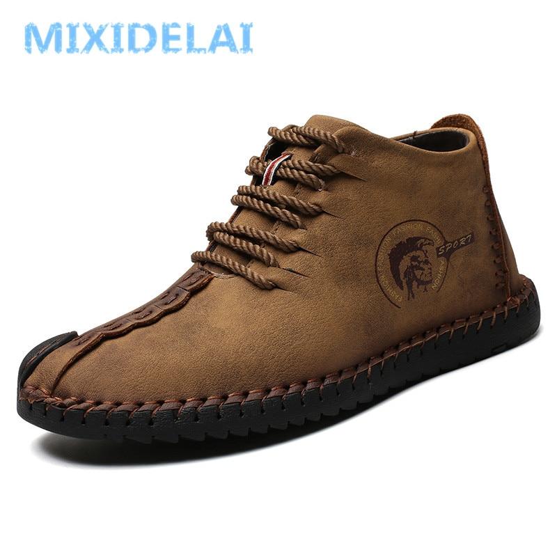 MIXIDELAI Fashion Men Boots High Quality Split Leather Ankle Snow Boots Shoes Warm Fur Plush Lace-Up Winter Shoes Plus Size 48