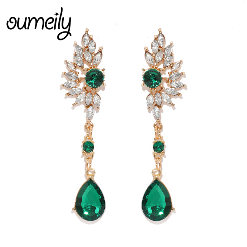 OUMEILY Vintage Bohemian Long Green Elegant Earrings For Women Mom Crystal Big Statement 2018 Fashion Party Jewelry Earings