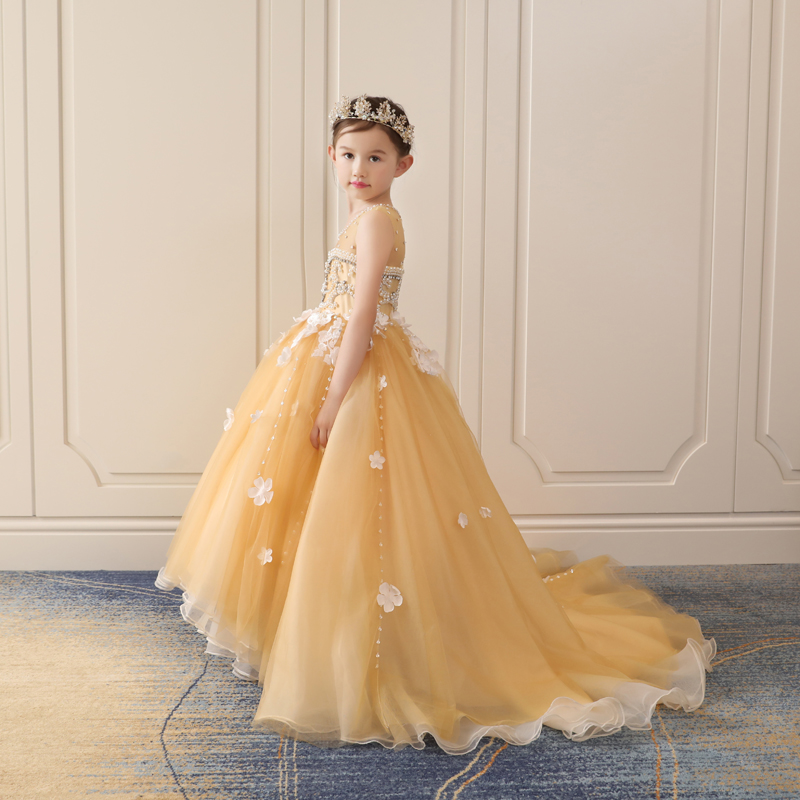 2018 New Luxury Princess Girls Gold Dress Long Trailing Floral Ball Gown Dresses Wedding Banquet Beading Dress for girl JF560 real picture kids evening gown luxury flower girl dresses for wedding long trailing princess dress ball gown beading dress