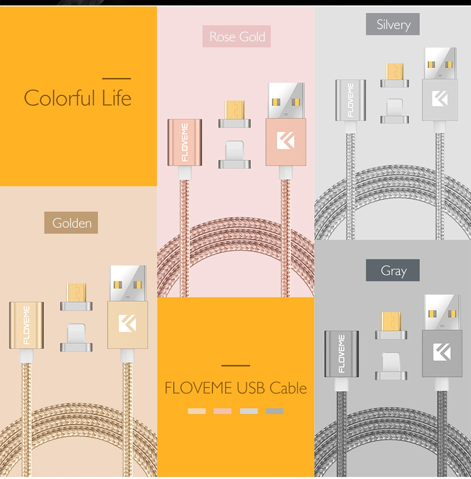 Magnetic USB Cable Upgraded 1 Line 2 USB For iPhone 7 6 6S Plus 5 5S SE Cables Micro USB  (10)