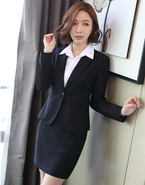 Formal Hitam Blazer Wanita Bisnis Setelan dengan Rok dan Jaket Set Wanita  Kantor Setelan Seragam Pakaian 4a8cfe2c05
