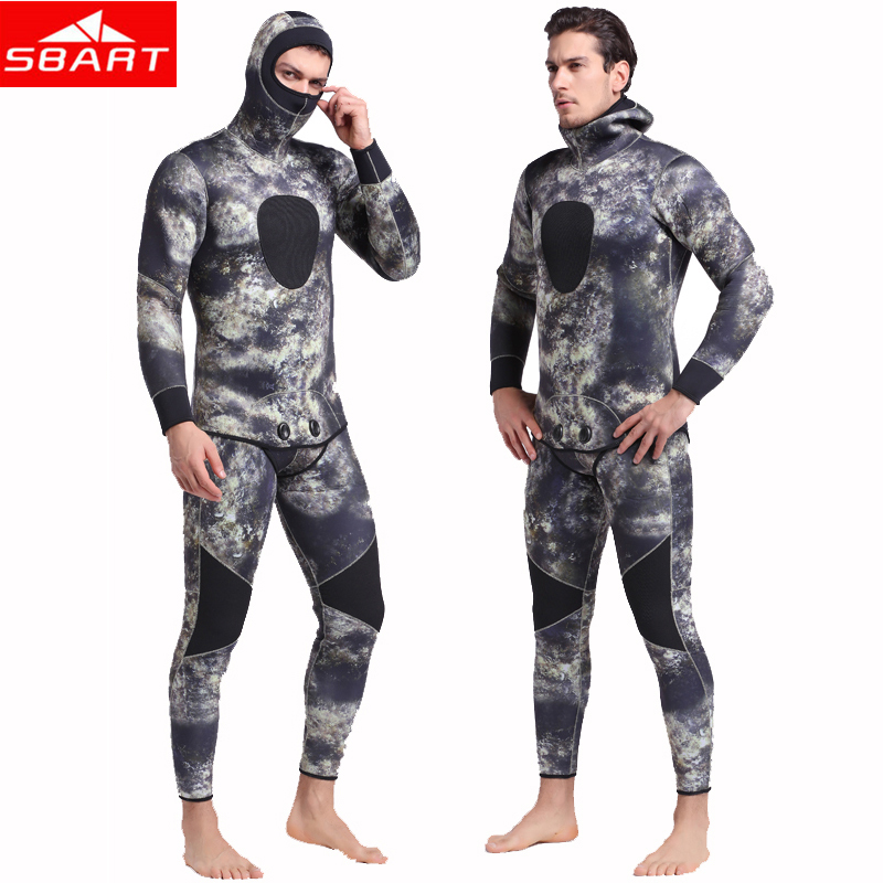 SBART 3mm/5mm Thick Men Neoprene Wetsuits Underwater Warm Hooded Spearfishing Wetsuit Spearfishing Diving Surfing Camo Wetsuits sbart upf50 806 xuancai