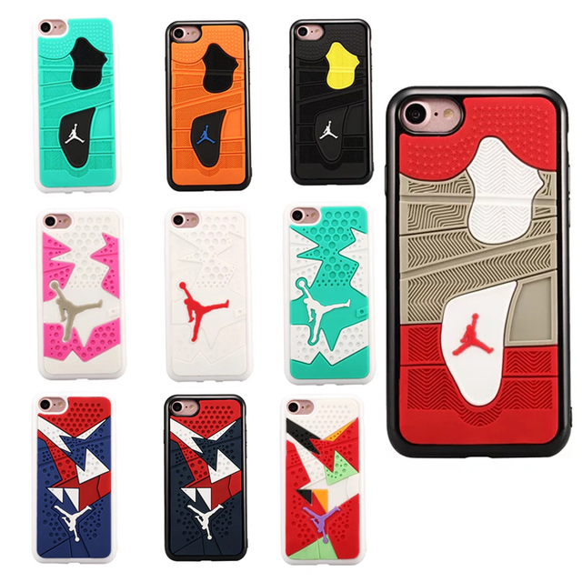 competitive price b3758 af9d5 US $3.88 |Fashion soft Rubber Jordan Sneaker Shoes Sole Phone Cases For  iphone 7 4.7