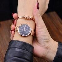 Fashion Rose Gold Bracelet Watches Women Top Luxury Brand Ladies Ultra Thin Quartz Watch Famous Watch