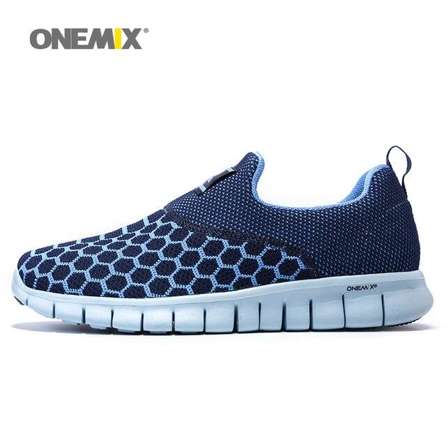 Onemix 2016 Мужская обувь для бега дышащая уличная Женская прогулочная обувь Массаж Мужской Спортивные кроссовки легкие туфли для бега трусцой
