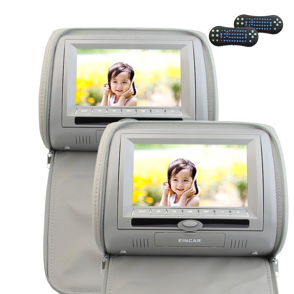 Dual Car Pillow Headrest DVD Player 7 HD 800480 LCD Screen FM&IR Transmitter CD DVD AV Video Player Games Remote Control Leathe