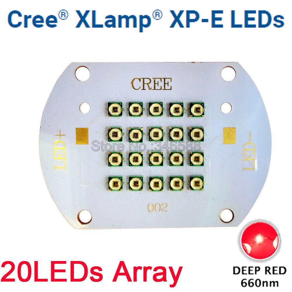 CREE XLamp XPE XP-E 60 W rouge profond 660nm plante grandir lumière LED Diode émetteur lumière 20 LED multi-puce tableau pour plante de jardin intérieur