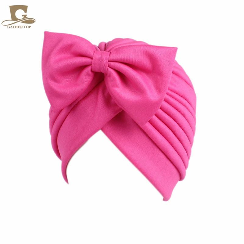 2017 Nieuwe mode vrouwen boog strik ruche tulband vrouwen haar cap - Kledingaccessoires - Foto 1