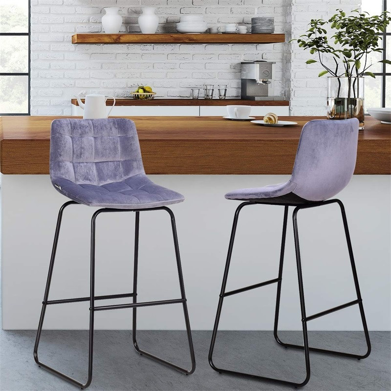 Set Of 2 Velvet Bar Stools Pub Kitchen Chairs High Chair Simple Counter Stool Bar Stools For Home HW59508
