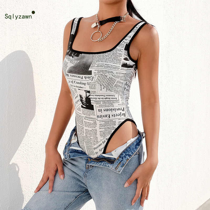 Для женщин с газетным принтом одноцветное боди на бретелях 2019 мода Scoop Neck Bodycon комбинезон с принтом букв Черный и белый комбинезон