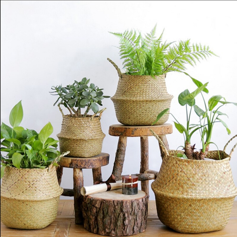 Home Garden Seagrass Wickerwork Basket Rattan Foldable Hanging Flower Pot Planter Woven Dirty Laundry Basket Storage Basket whism storage basket rattan straw basket wicker folding flower pot seagrasss flower baskets garden planter pot de fleur suspendu