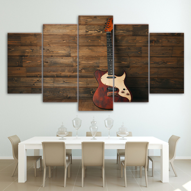 Modern Home Decor Framed 5 Panel Music Instrument Wooden Guitar Canvas Print Painting Wall Art For