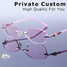 c55940344f70 الشهيرة العلامة التجارية نظارات القراءة الإناث الفاخرة العدسات قصر النظر  نظارات حجر الراين بدون شفة النظارات الطبية الإطار المرأ.