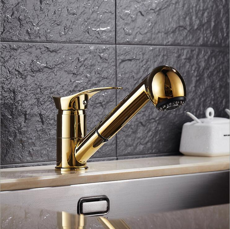 Free Ship Gold Kitchen faucet brass faucet hot and cold sink tap Water Tap with pull out shower head Kitchen Mixer