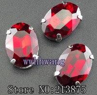 Ücretsiz kargo 100 adet 10mm * 14mm kırmızı oval şekil kristal cam rhinestone El Yapımı pençe taş dikmek Boncuk Gümüş alt