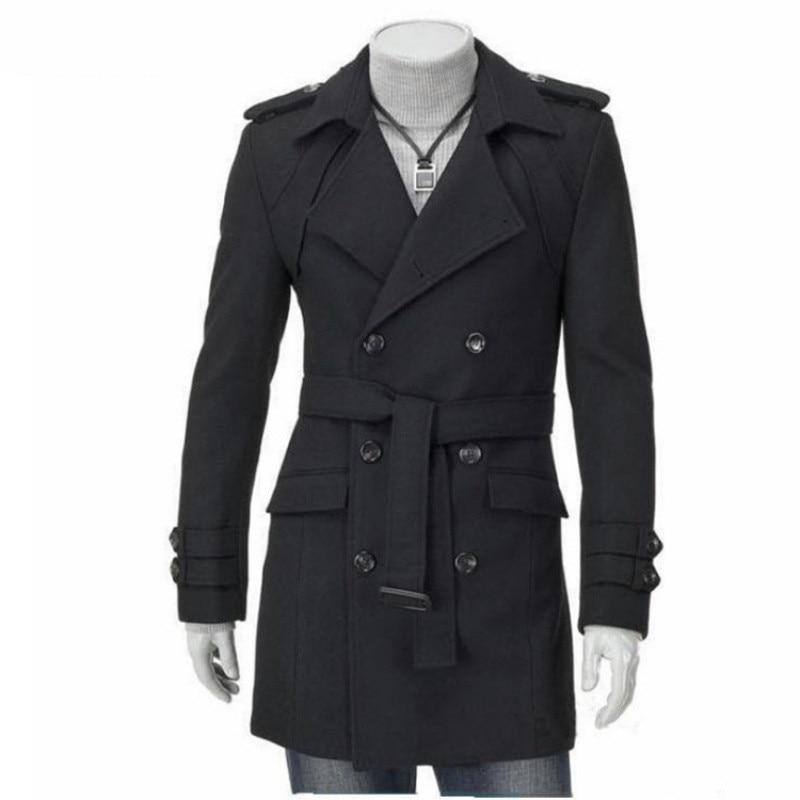 New Mens Long Comfortable men   Trench   Fashion Designer man Autumn Winter Windproof Slim top Coat business clothes Plus Size