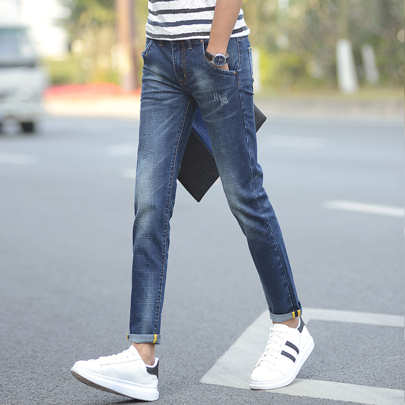 Summer Mens Denim Jeans Ankle-length Pants Calca Masculina New Brand Clothing Casual Stretch Skinny Pants Male Kanye Trousers