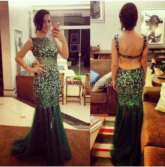 2017 Fall New Arrival Emerald Green Sexy Mermaid Prom Dress Backless Style...