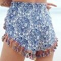 Shorts mujeres 2017 borla ocasional bohemio imprimir mujeres shorts loose mid-cintura elástica cintura delgada del verano caliente pantalones cortos de señora