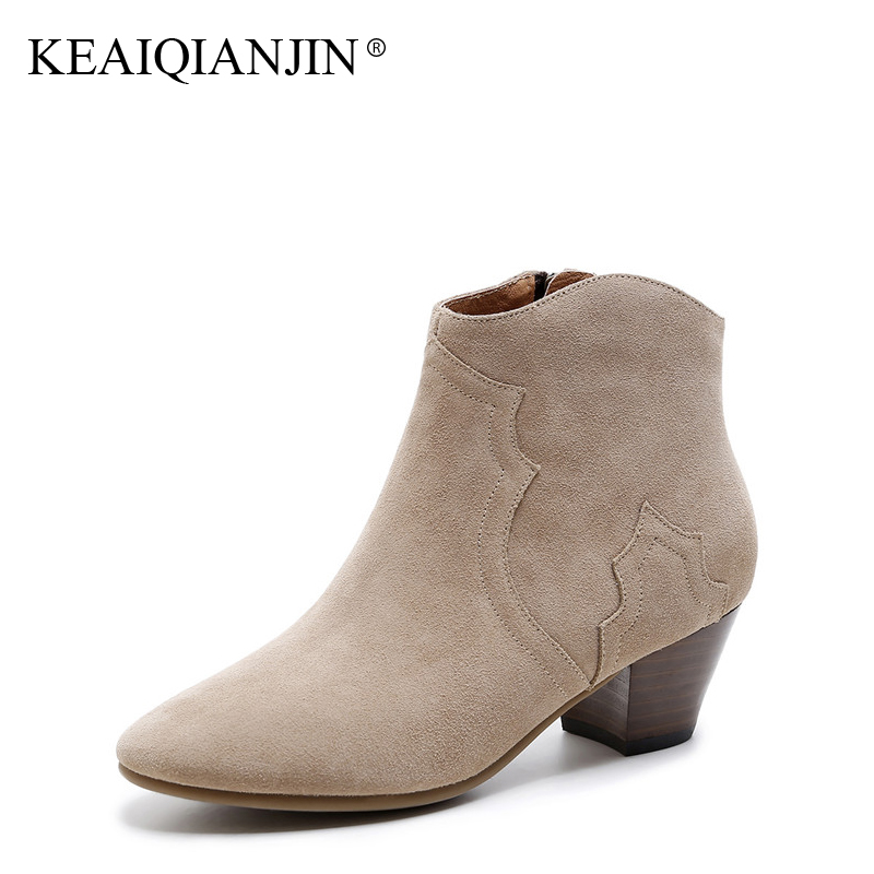 KEAIQIANJIN Woman High Heels Ankle Boots Autumn Winter Shoes Black Gray Apricot Bottine Zipper Fashion Genuine Leather Boots cocoafoal woman genuine leather ankle boots autumn winter 9 cm high heel shoes black apricot fashion sexy pointed toe boots 2018