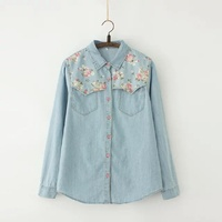 2017 Autumn Women Full Cotton Floral Jeans Long Blouse Female Large Size Long Sleeve Shirt Femme