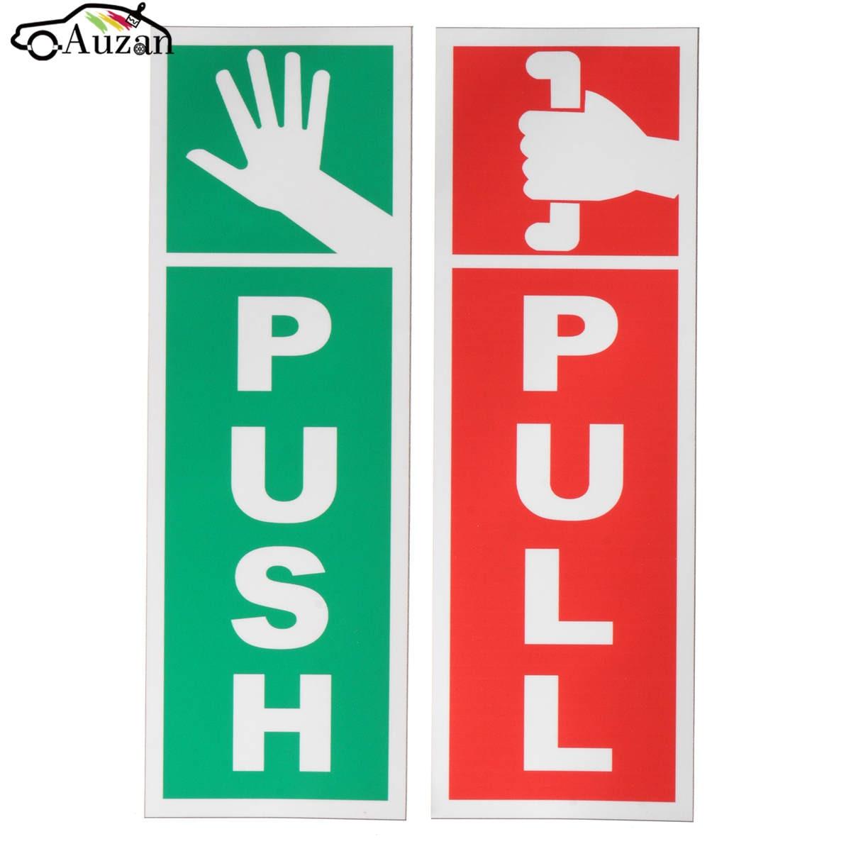 PUSH & PULL Door Window Gloss Laminated Warning Sign Vinyl ...