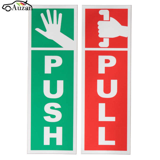 Push pull door window gloss laminated warning sign vinyl waterproof decal sticker