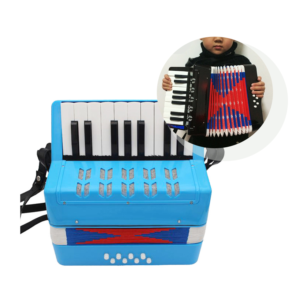 17 Keys 8 Bass Accordion Kids Accordion Toy Ensemble Musical Educational Instrument for Early Childhood Teaching