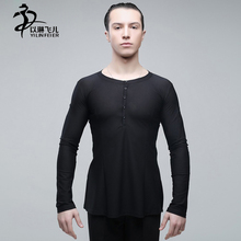 Men's Dance Costumes Ballroom Latin Microfiber 2016 New Style Men Latin Dance Clothing V Collar Coat Top