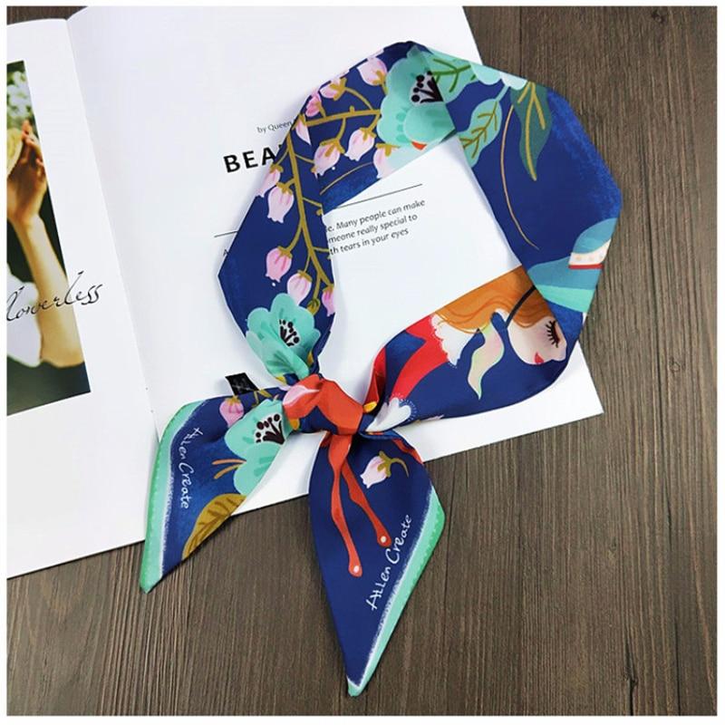 Blue Sika Deer Scarf Women Kerchief Fashion Flower Printed Headband Small Tie Bag Ribbons Female Neck Wrap Foulard Brand Scarves