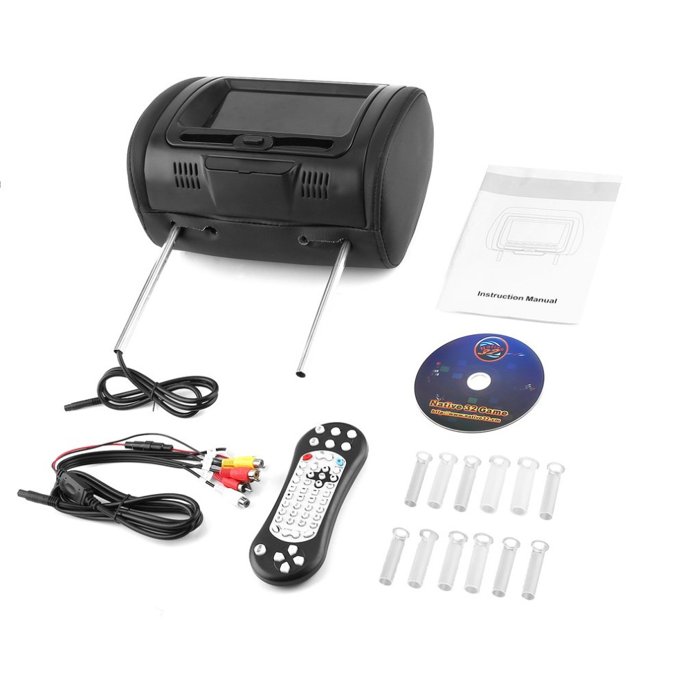 Universal 7 Headrest Car DVD Player Black Car DVD/USB/HDMI Car Headrest Monitors with Games Disc Internal SpeakersUniversal 7 Headrest Car DVD Player Black Car DVD/USB/HDMI Car Headrest Monitors with Games Disc Internal Speakers