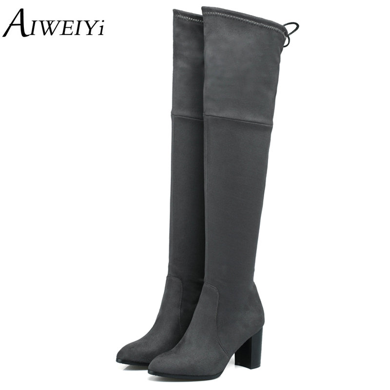 AIWEIYi 2018 New Women Suede Fashion Over the Knee Boots Sexy Square High Heel Boots Platform Woman Shoes Black Red size 34-43 charming synthetic colorful ombre long centre parting capless fluffy wavy cosplay wig for women