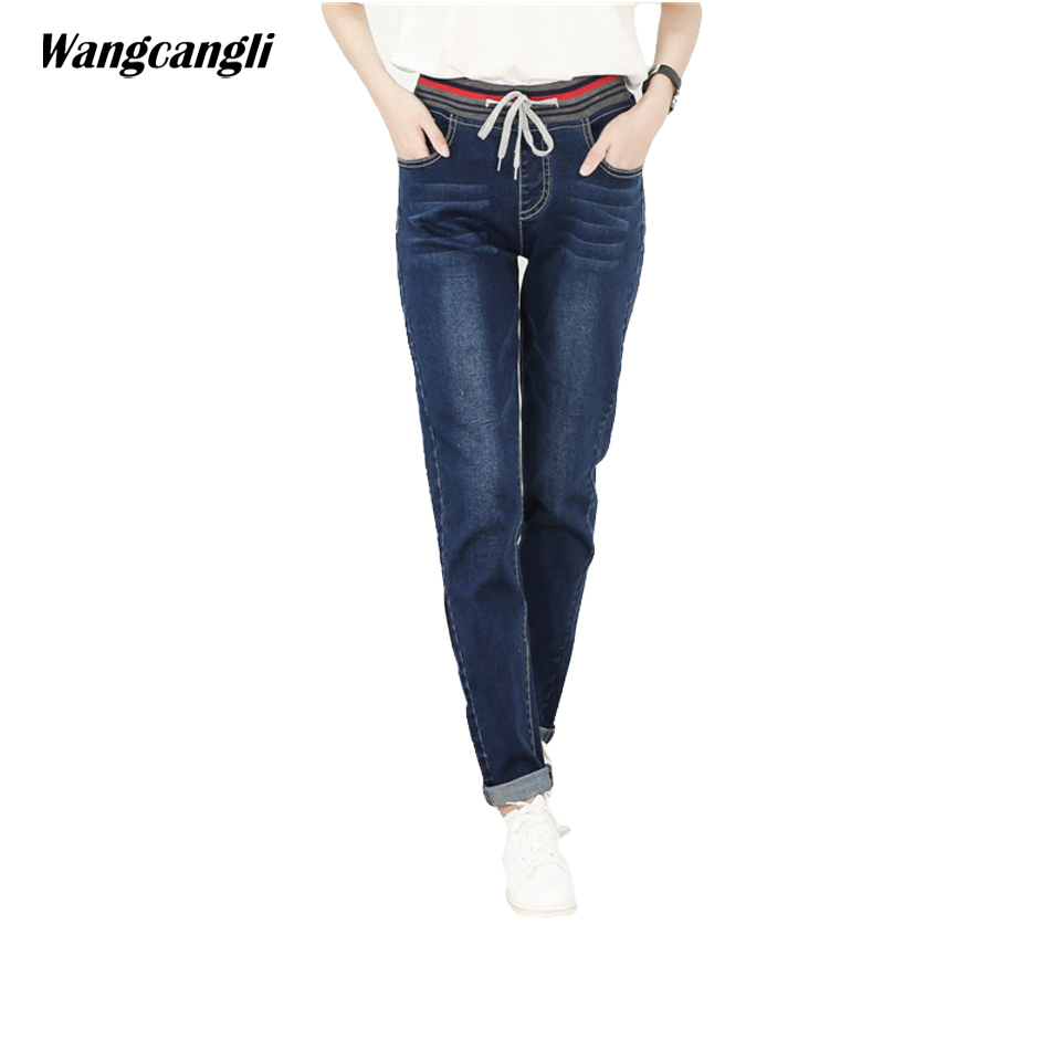 jeans women blue tether elastic waist pants 4xl decoration Moustache effect pocket fashion large size woman straight wangcangli wangcangli jeans women shorts light blue large size denim fat sister elastic waist mid waist jeans moustache effect summer 4xl