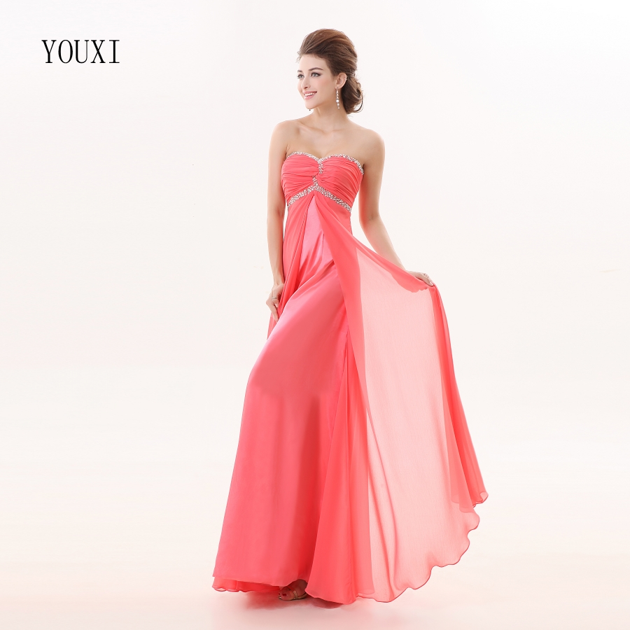 Watermelon Chiffon   Bridesmaid     Dresses   2019 New Hot A Line Formal Prom Party Gowns