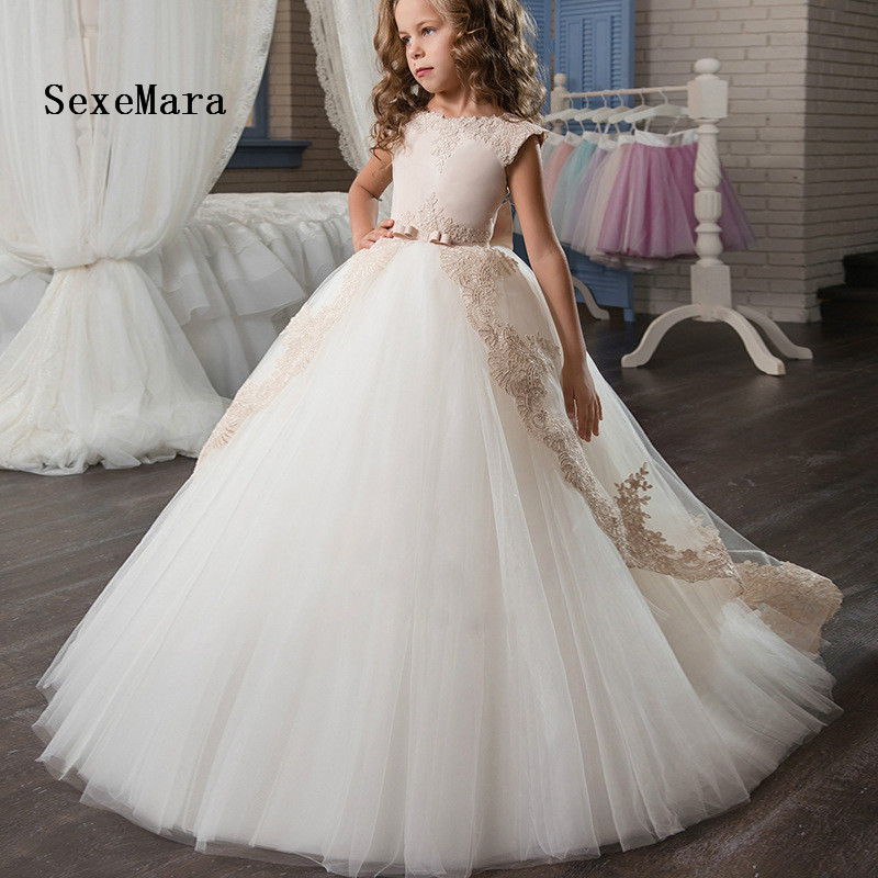 Hot Sale Champagne Lace Appliques First Communion Dress ball gown with bow kids evening gown flower girl dress for wedding