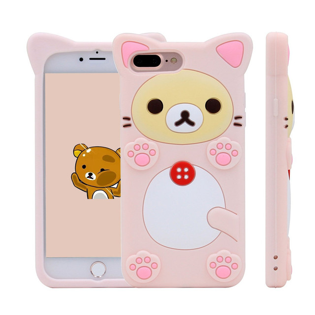 competitive price cb8c8 dc3d9 US $4.99 |POEME CREATION Cute 3D Cartoon Rilakkuma Bear Silicon Case for  iPhone 6 7 8 Plus Rubber Silicone Cover Shell Phone Cases-in Fitted Cases  ...