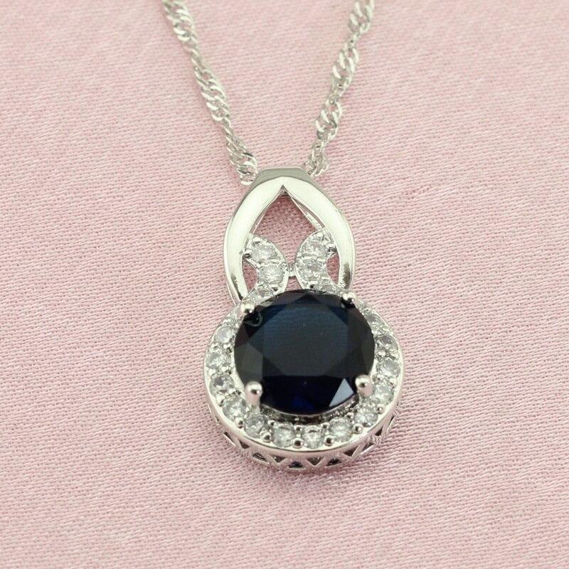 Wpaitkys Round Dark Blue Stone Silver Color Jewelry Sets
