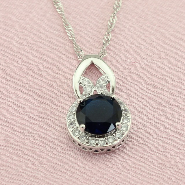 WPAITKYS Round Dark Blue Stone Silver Color Jewelry Sets For Women Wedding Earring Pendant Necklace Ring Bracelet Free Gift Box