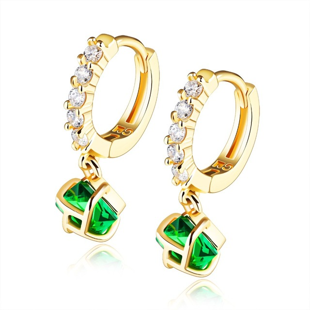 Delicate cubic zirconia hoop earrings  yellow gold filled square green stone earrings for women