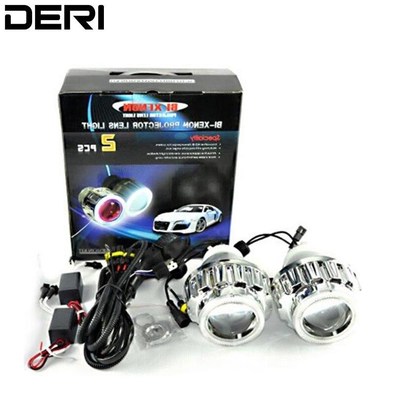 35W 2.8inch LHD Round Ring HID Bi Xenon Projector Lens Light H1 H4 H7 White CCFL Angel Eyes 6000K Xenon Bulb For Car Headlight