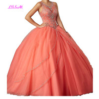 Illusion Jewel Neck Long Prom Dresse Crystals Beaded Ball Gown Tulle Quinceanera Dress for Sweet 16 Girls