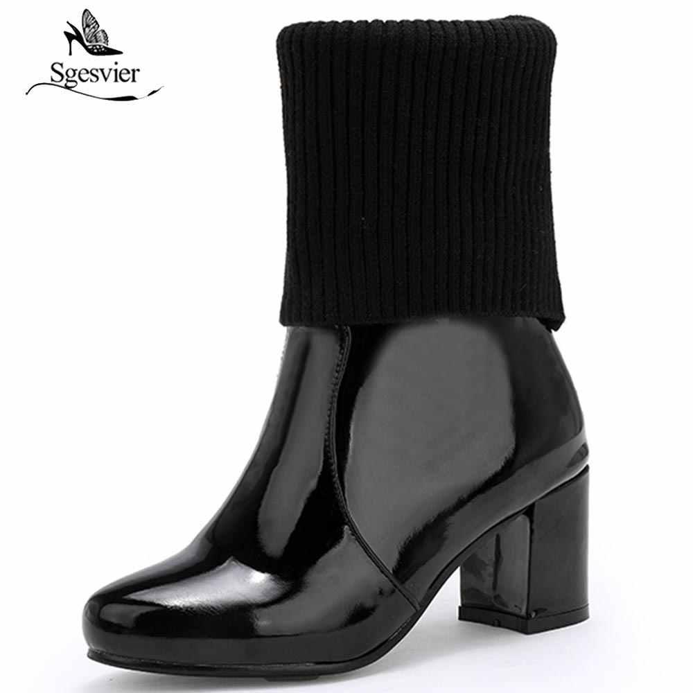 Sgesvier yarım çizmeler Tıknaz Yüksek Topuklu Kadın Moda Patent Deri Çizmeler Siyah Beyaz Kırmızı Kadın Ayakkabı Seksi Kadın Pompaları B759