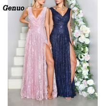 Sexy Deep V Neck Maxi Dress Women Elegant Backless Party High Spilt Pink Floral Lace Long Bridesmaid Gown Vestidos