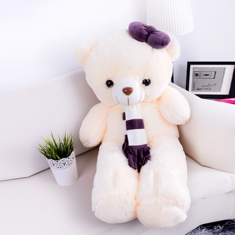 90cm Large Teddy Bear Plush Doll Stuffed Soft Toy Cute Huge White Bear Wear Bowknot Kids Toys Birthday Gift for Girl 2017 C42 new creative plush bear toy cute lying bow teddy bear doll gift about 50cm