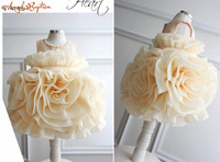 Creamy cupcake ruffled Flower Girl Dress toddler ball gown champagne graduation outfit princess Baby 1 year birthday party gown